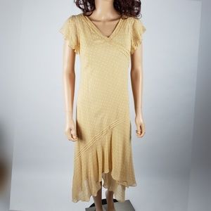 Vintage Adrianna Papell Yellow 100% Silk Dress